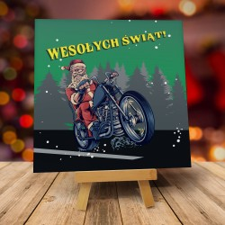 """Śmieszne kartki świąteczne z kopertami """"MIKOŁAJ NA MOTORZE"""""""