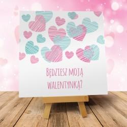 """Kartka Walentynkowa """"Deszcz Serduszek""""- 1 szt"""