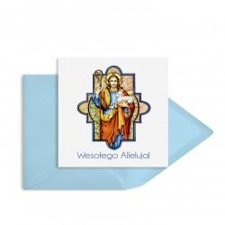 """Religijne kartki wielkanocne """"Jezus z barankiem"""" z kopertami ozdobnymi w zestawie"""