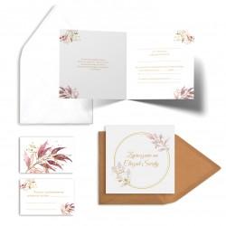 Zaproszenia na chrzest Pastelowe Listki bez personalizacji