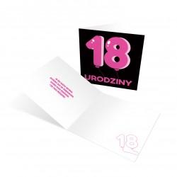 """Zaproszenia na osiemnaste urodziny """"Różowa Balonowa 18"""" z kopertami"""