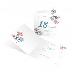 """Zaproszenia na 18 urodziny """"Pastelowe Kwiaty"""" z kopertą"""