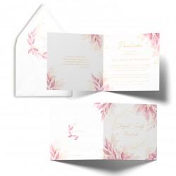 Zaproszenia na chrzest Delikatne Listki personalizowane róż i złoto
