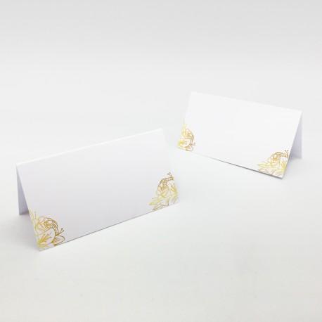 Wizytówki na stół Złote Kwiaty bez personalizacji