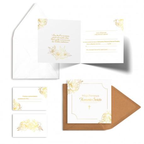 Zaproszenia komunijne Złote Kwiaty do wypisania