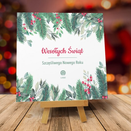 Kartki świąteczne biznesowe z logo Santo