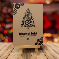 Kartka świąteczna CZARNE KÓŁKA ZĘBATE z logiem