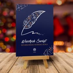 Kartki świąteczne PIÓRO ŚWIĄTECZNE GRANAT z logiem firmy