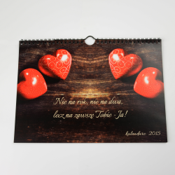 """Kalendarz  z Twoimi zdjęciami / personalizowany """"Love"""" A3"""