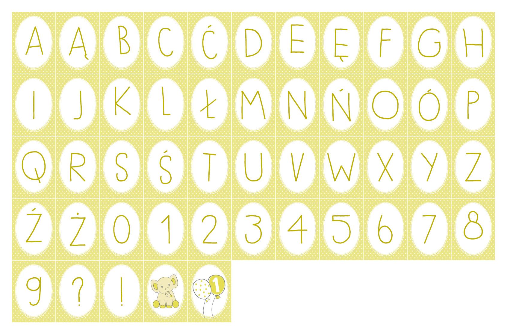 Wszystkie literki do baneru Cytrynowy Słonik